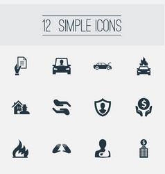 Set of simple safeguard icons vector