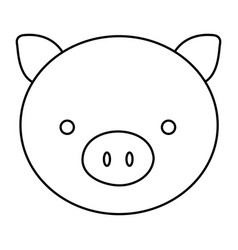 Silhouette face cute pig animal farm icon vector