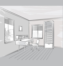 sketch of interior beautiful room working place vector image vector image