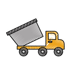 Tipper truck construction loose material vector