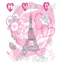 valentines day card with the eiffel tower vector image
