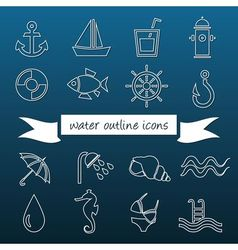 Water outline icons vector