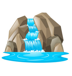 waterfall from the mountain vector image