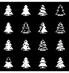white christmas tree icon set vector image