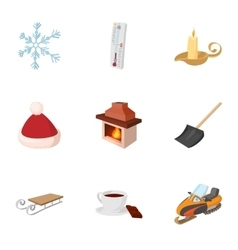 Winter frost icons set cartoon style vector image vector image