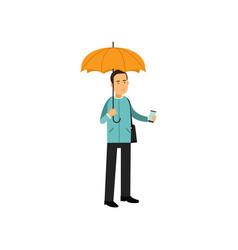 young man standing under orange umbrella vector image vector image