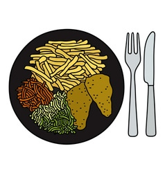 Food on the black plate vector