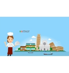 Italian cuisine background with woman chef vector