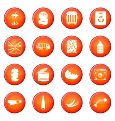 Waste and garbage icons set vector
