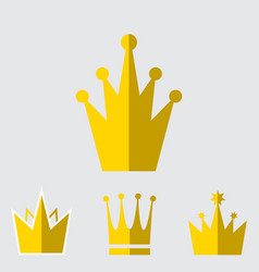 Crown icon set isolated vector