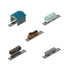 Isometric train set of depot delivery tank oil vector
