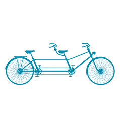 retro tandem bicycle in blue design vector image
