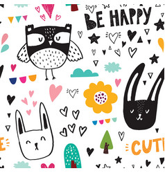 owl and rabbits vector image