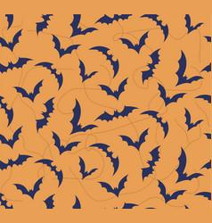 Seamless pattern of bat on bright orange vector