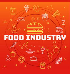 Food industry concept different thin line icons vector