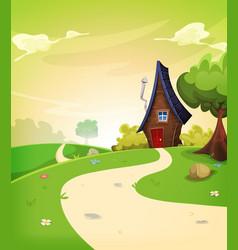Fairy house inside spring landscape vector