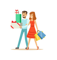 Happy family couple walking with shopping bags and vector