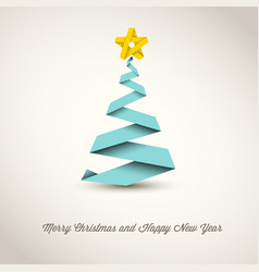 Simple christmas tree made from paper stripe vector