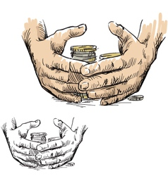 Hands hiding piles of coins vector