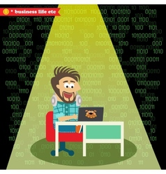 Software engineer working on his notebook vector image