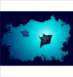 coral reef with stingray vector image