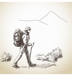 woman trekking vector image