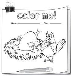 Coloring worksheet with a bird beside the nest vector
