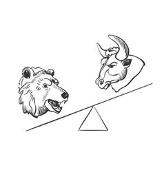 bull and bear financial doodle icons vector image