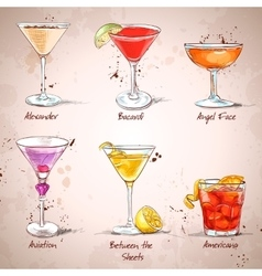 The unforgettables cocktail set vector