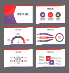 Purle red presentation templates infographic set vector