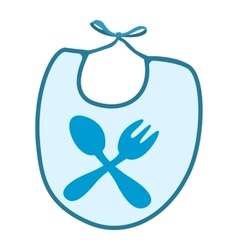 Baby bib with blue border cartoon icon vector