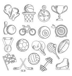 Sport and fitness sketch icons of game items vector