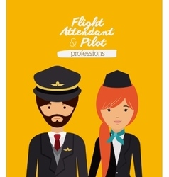 Pilot and flight attendant design vector