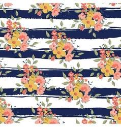 Floral pattern with dark blue stripes vector