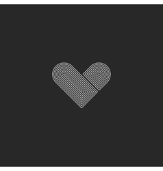 Hipster heart logo monogram simple wedding design vector