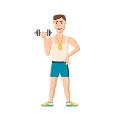Athlete with dumbbell icon cartoon style vector