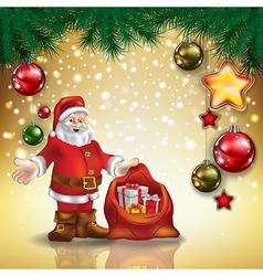 Abstract christmas golden greeting with santa vector