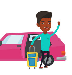African-american man traveling by car vector