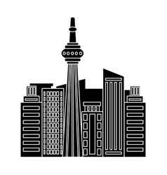 Canadian skyscraper canada single icon in black vector