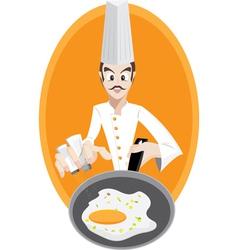 Chef is frying egg vector