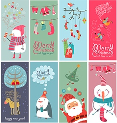 Christmas banners with funny characters vector image