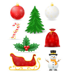 christmas objects set icons stock vector image