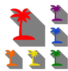 Coconut palm tree sign set of red orange yellow vector