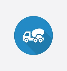 Concrete mixer flat blue simple icon with long vector