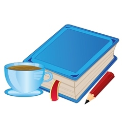 Cup coffee and book vector