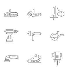 Electric power tool icon set outline style vector