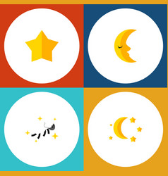 Flat icon night set of starlet bedtime night and vector