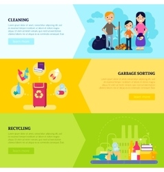 Garbage collecting horizontal banners vector