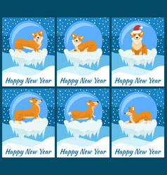 happy new year posters with corgi in glass bubble vector image vector image
