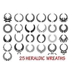 Laurel wreath heraldic set vector image vector image
